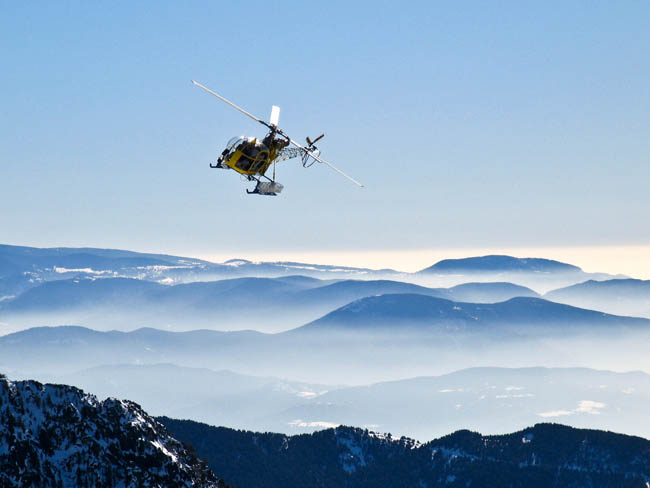 Helicopter flying in Andorra