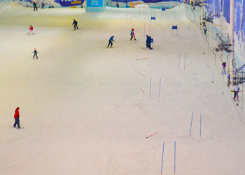 Indoor real snow ski slope at Chill Factore, Manchester