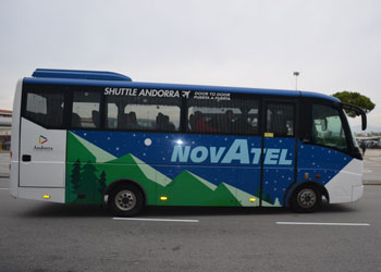 Photo of a Novatel bus, for shared airport transfers