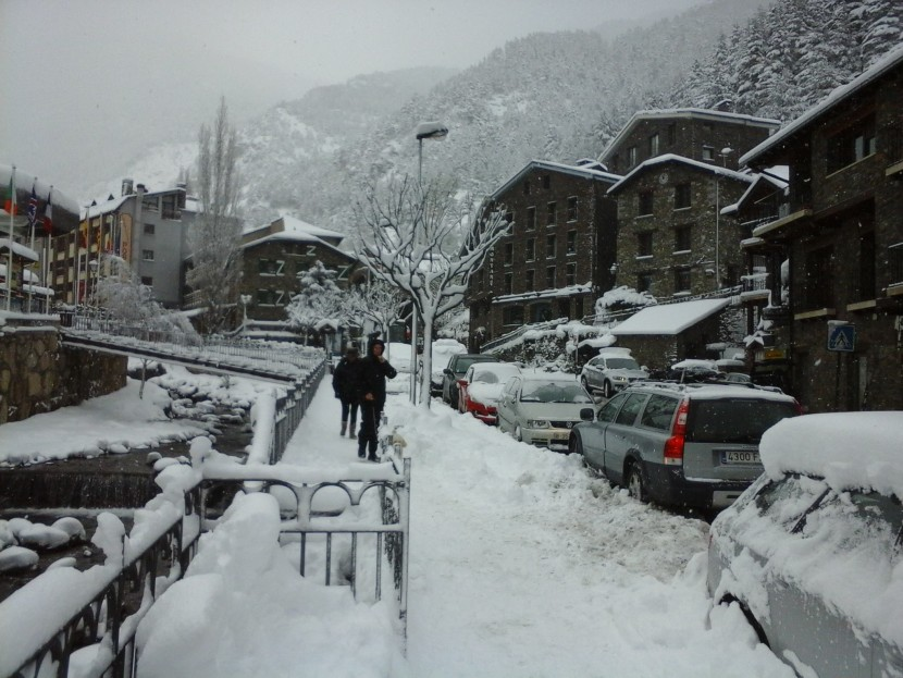 Snow in the village of Arinsal, Andorra