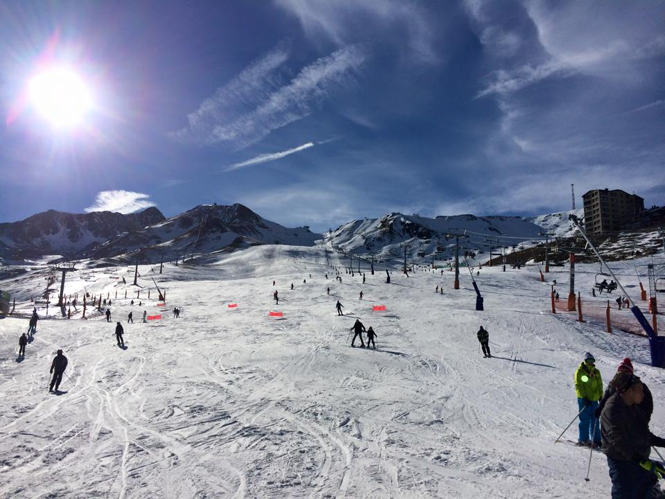 Looking up the ski slopes of Pas de la Casa