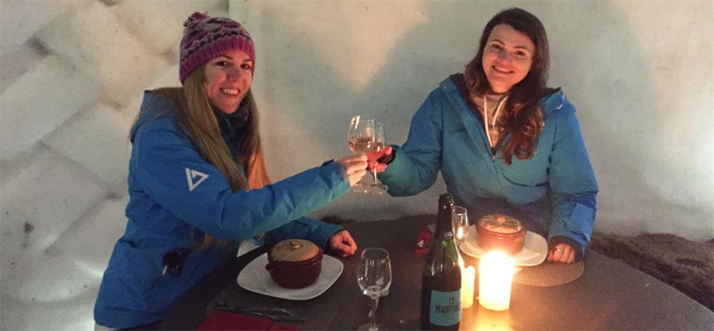 Sofia & Ella having dinner in the Iglu Hotel
