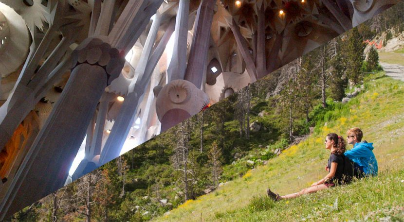 Spilt image of inside Sagrada Familia and couple sat on mountainside