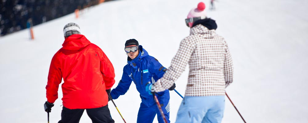 Ski instructor teaching