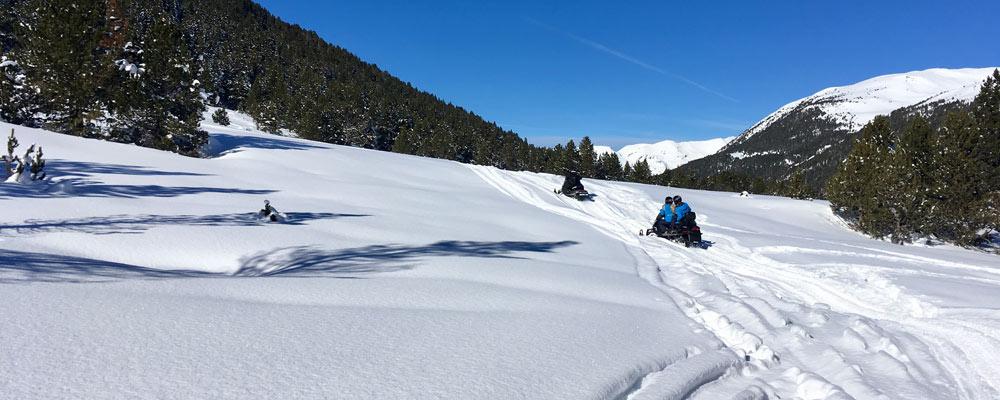 Team on snowmobiles in powder snow