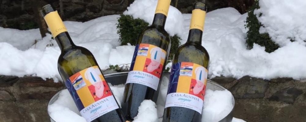 Wine bottle in snow