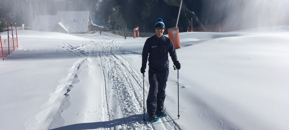 Steve snowshoeing in Arinsal