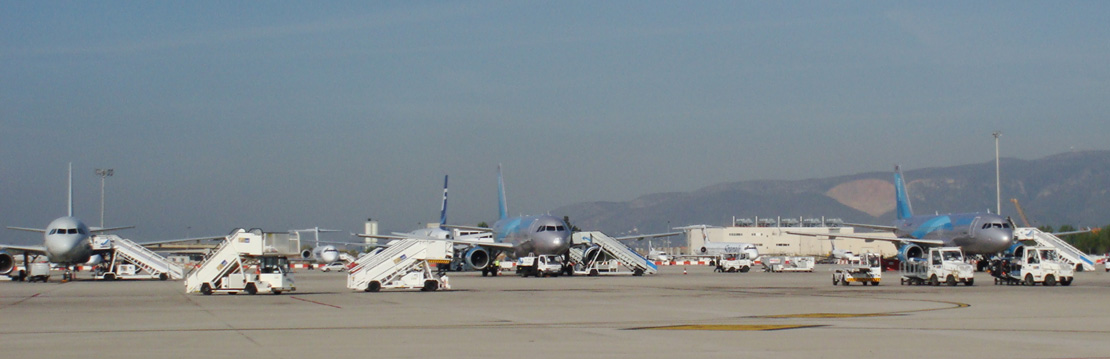 Aeroplanes on the tarmac at Barcelona Airport