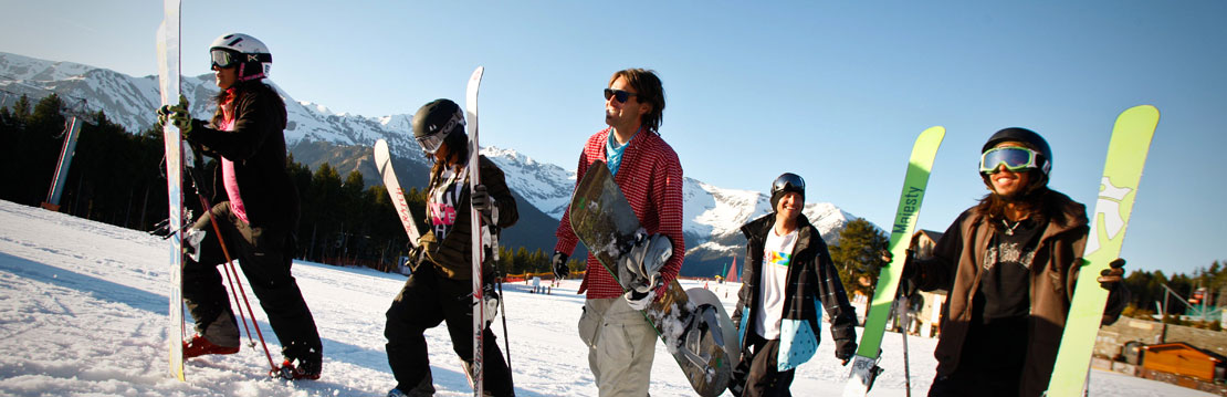 Group with ski equipment